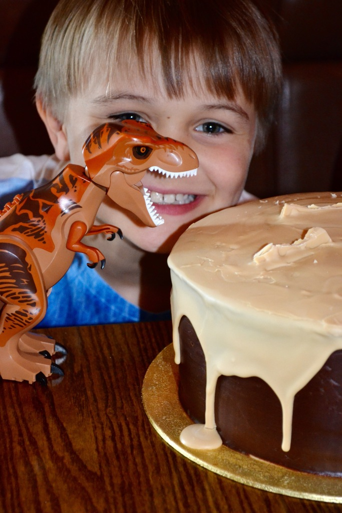 And he loved the cake (as did the dinosaur) and the bars of Caramac were snapped off and devoured by the kids in a flash.
