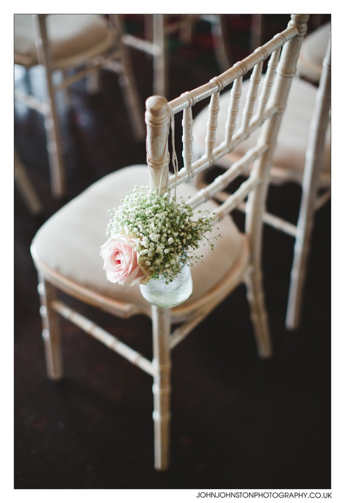 Simple flowers adorn the venue.