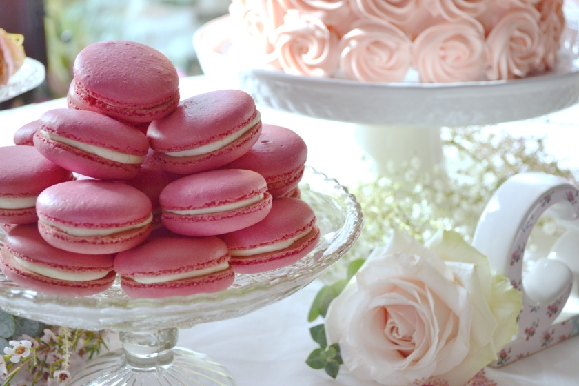 Raspberry & White Chocolate Macarons, part of the Dessert Table.