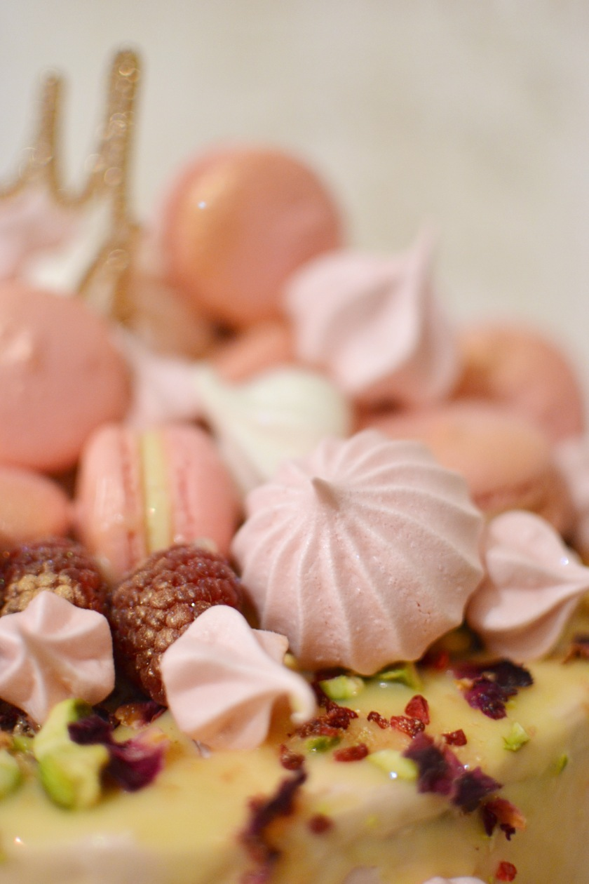 Meringue Kisses and Raspberries dusted with edible gold lustre